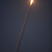 The United Launch Alliance Delta 4 rocket lifted off this evening from launch complex 37 to deliver a military communications satellite into orbit to cover the Americas. The launch occurred at 8:27 p.m. from Cape Canaveral, Florida on Friday, May 24, 2013. This is a general view from Jetty Park in Cape Canaveral.  (AP Photo/Alex Menendez)