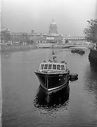 Two pictures of boat at O'Connell Bridge - Special for Mr Madden of Garryowen Transport - one side on and one from stern facing the bridge. <br />