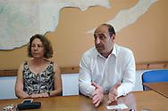 The Committee for Missing Persons in Cyprus, Turkish Cypriot Member Gülden Plümer Küçük, left, and Greek Cypriot Member Nestoras Nestoros, right, at the UNFICYP HQ in the UN Buffer zone.