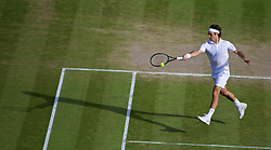 04.07.2014, All England Lawn Tennis Club, London, ENG, ATP Tour, Wimbledon, im Bild Roger Federer (SUI) during the Gentlemen's Singles Semi-Final match on day eleven // during the Wimbledon Championships at the All England Lawn Tennis Club in London, Great Britain on 2014/07/04. EXPA Pictures © 2014, PhotoCredit: EXPA/ Propagandaphoto/ David Rawcliffe<br /> <br /> *****ATTENTION - OUT of ENG, GBR*****