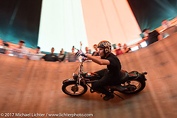Cody Ives racing around the inside of his Ives Brothers Wall of Death at the Harley-Davidson display at the Daytona Speedway during Daytona Bike Week. Daytona Beach, FL. USA. Monday March 13, 2017. Photography ©2017 Michael Lichter.