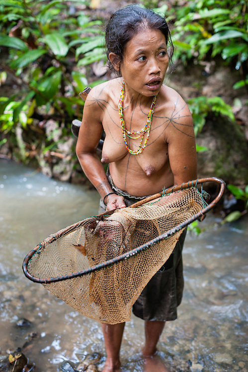 Mentawai indigenous woman fishing with net in jungle river (Indonesia).