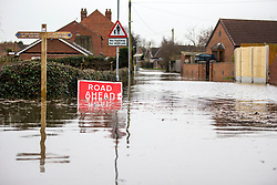 © Licensed to London News Pictures. 28/02/2020. East Cowick UK. Back Lane in East Cowick where residents have been evacuated from flood water in Yorkshire as the UK prepares for storm Jorge. Photo credit: Andrew McCaren/LNP