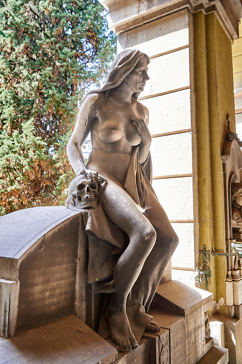 Picture and image of the stone sculpture of a nude on the Taramiso tomb. The  monumental tombs of the Staglieno Monumental Cemetery, Genoa, Italy .<br /> <br /> Visit our ITALY PHOTO COLLECTION for more   photos of Italy to download or buy as prints https://funkystock.photoshelter.com/gallery-collection/2b-Pictures-Images-of-Italy-Photos-of-Italian-Historic-Landmark-Sites/C0000qxA2zGFjd_k<br /> If you prefer to buy from our ALAMY PHOTO LIBRARY  Collection visit : https://www.alamy.com/portfolio/paul-williams-funkystock/camposanto-di-staglieno-cemetery-genoa.html