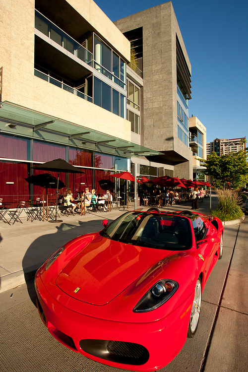 North America, United States, Washington, Bellevue, sports car and restaurant