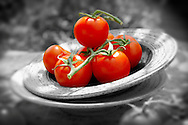 Fresh whole tomatoes on the vine