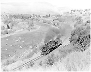 """#486 running light southbound on east bank of Animas River, just below Durango.<br /> D&RGW  Carbon Junction, CO  <br /> In book """"Durango: Always a Railroad Town (1st ed.)"""" page 135"""