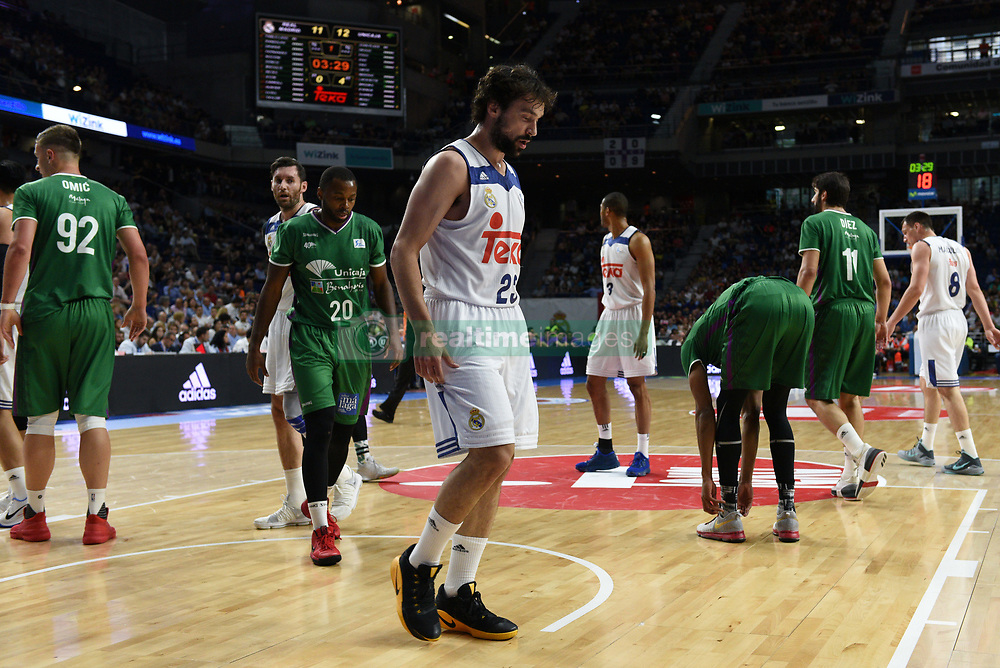 May 31, 2017 - Madrid, Madrid, Spain - Sergio Llul (C), #23 of Real Madrid pictured during the first game of the semifinals of basketball Endesa league between Real Madrid and Unicaja de Málaga. (Credit Image: © Jorge Sanz/Pacific Press via ZUMA Wire)