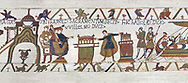 Bayeux Tapestry Scene  23 - At  Bayeux Harold,  holding two relics, swears fealty to Duke William, BYX23