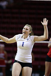 11 October 2008: Nicole Brown brings some positive energy to the Bulldog side of the net and reacts to a bulldog point during a match between the Bulldogs of Drake University and the Redbirds of Illinois State University.  The Redbirds took the match against the Bulldogs 3 sets to none on Doug Collins Court inside Redbird Arena on the campus of Illinois State University in Normal Illinois.