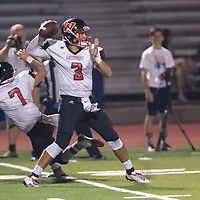 (Photograph by Bill Gerth/ for SVCN/9/1/17) Westmont #3 Cameron Rottler looks down field for a receiver vs Prospect in a preseason football game at Prospect High School, Saratoga CA on 9/1/17. (Westmont 20 Prospect 0)