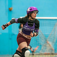 Rainy City Revolution take on Nottingham Roller Derby in the Tier 1 Womens North British Champs at University of Salford sports Centre, Salford, Greater Manchester, UNited Kingdom, 2020-02-01