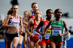 Maryam Yusuf Jamal (BRN) and Gelete Burka of Ethiopia competes in  the women's 1500m Final during the day nine of the 12th IAAF World Athletics Championships at the Olympic Stadium on August 23, 2009 in Berlin, Germany. (Photo by Vid Ponikvar / Sportida)