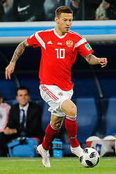 June 19, 2018 - Saint Petersburg, Russia - Fedor Smolov of Russia national team during the 2018 FIFA World Cup Russia group A match between Russia and Egypt on June 19, 2018 at Saint Petersburg Stadium in Saint Petersburg, Russia. (Credit Image: © Mike Kireev/NurPhoto via ZUMA Press)