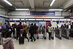 © Licensed to London News Pictures. 21/02/2019. London, UK.  The entrance to Barking Station this morning, which has now reopened. A person was reportedly stabbed on an underground train at Barking Station last night, with the suspect fleeing along the platform. Photo credit: Vickie Flores/LNP