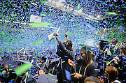 pvc051911b/5-19-11/rr.  2011 Rio Rancho High School graduates toss confetti into the air at the end of the graduation ceremony held at the Santa Ana Star Center, photographed Thursday May 19, 2011.  (Pat Vasquez-Cunningham/Journal)