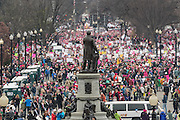 Hundreds of thousands of demonstrators gather on Independence Avenue during the Women's March on Washington in protest to President Donald Trump January 21, 2017 in Washington, DC. More than 500,000 people crammed the National Mall in a peaceful and festival rally in a rebuke of the new president.