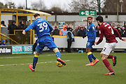 AFC Wimbledon striker Joe Pigott (39) with a shot on goal during the EFL Sky Bet League 1 match between AFC Wimbledon and Northampton Town at the Cherry Red Records Stadium, Kingston, England on 10 February 2018. Picture by Matthew Redman.
