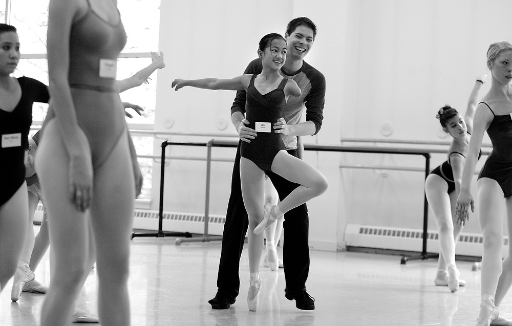 07/03/2009 Boston, MA-  Lani Dickinson, 15, is assisted by her teacher Christopher Hird during a ballet class at Boston Ballet's Summer Dance Program.