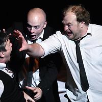 Nederland, Amsterdam , 8 september 2013.<br /> Het Fringe festival..<br /> 1 van de voorstellingen is: The three little pigs.<br /> The Three Little Pigs is een psychologische thriller. Animal Farm meets Reservoir Dogs. De klasieke kinderverhaaltjes krijgen een donkere onverwachte invalshoek.<br /> Van en met:Tara Notcutt, Albert Pretorius, James Cairns, Rob van Vuuren<br /> Fringe Festival. Tussen 5 tot 15 september spelen er 80 verschillende voorstellingen op 33 locaties in de stad, waaronder de Brakke Grond. Fringe staat voor openheid, artistieke durf en avontuur. Laat je verrassen door deze makers.<br /> Foto:Jean-Pierre Jans