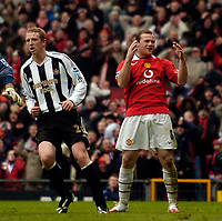 Photo: Jed Wee.<br /> Manchester United v Newcastle United. The Barclays Premiership. 12/03/2006.<br /> <br /> Manchester United's Wayne Rooney rues a missed chance.