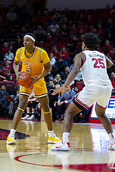 NORMAL, IL - February 15: Jaycee Hillsman holds Donovan Clay at the 3 point line during a college basketball game between the ISU Redbirds and the Valparaiso Crusaders on February 15 2020 at Redbird Arena in Normal, IL. (Photo by Alan Look)