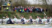 Putney - Chiswick, London,  Great Britain.<br /> right to left. OUBC.  5: Leo Carrington, 6: Jørgen Tveit, 7: Jamie Cook, Stroke: Nik Hazel and Cox: Sam Collier.<br /> 2016 University Boat Race, Oxford vs Cambridge, Putney. Putney  to Mortlake, Championship Course. River Thames.<br /> <br /> Sunday  27/03/2016 <br /> <br /> [Mandatory Credit; Peter SPURRIER/Intersport-images]