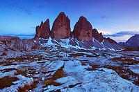 Mountain impression Tre Cime - Europe, Italy, South Tyrol, Sexten Dolomites, Tre Cime - Dusk - July 2009 - Mission Dolomites Tre Cime