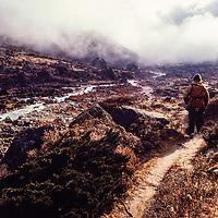 A trekker in the Khumbu region of Nepal. 1980.