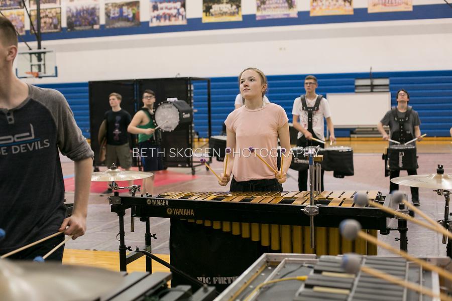 Shadow Indoor Percussion practices at a high school in Dayton, Ohio on April 19, 2017.<br /> <br /> Beth Skogen Photography - www.bethskogen.com