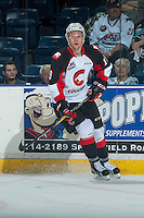 KELOWNA, CANADA - SEPTEMBER 28: Shane Collins #19 of Prince George Cougars skates against the Kelowna Rockets on September 28, 2016 at Prospera Place in Kelowna, British Columbia, Canada.  (Photo by Marissa Baecker/Shoot the Breeze)  *** Local Caption *** Shane Collins;
