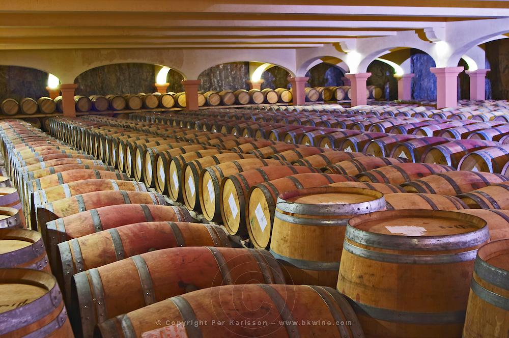 Domaine Gerard Bertrand, Chateau l'Hospitalet. La Clape. Languedoc. Barrel cellar. France. Europe.