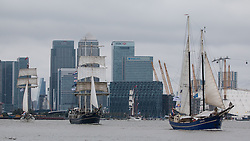 © Licensed to London News Pictures. 31/08/2015.  A tall ships festival in London has ended with a parade of sail down the Thames. There was rain on their parade as the tall ships departed the capital on a grey, wet bank holiday Monday. Credit : Rob Powell/LNP