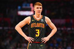 January 29, 2019 - Los Angeles, CA, U.S. - LOS ANGELES, CA - JANUARY 28: Atlanta Hawks Guard Kevin Huerter (3) looks on during a NBA game between the Atlanta Hawks and the Los Angeles Clippers on January 28, 2019 at STAPLES Center in Los Angeles, CA. (Photo by Brian Rothmuller/Icon Sportswire) (Credit Image: © Brian Rothmuller/Icon SMI via ZUMA Press)
