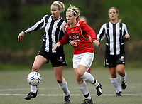 Fotball<br /> 29. April 2008<br /> 1. Runde NM kvinner<br /> Sandviken - Nymark 4 - 0<br /> Randi Haukås Bjerkreim , Nymark<br /> Stine Næss , Sandviken<br /> Foto : Astrid M. Nordhaug