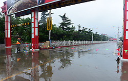 July 21, 2017 - Shijiazhuan, Shijiazhuan, China - Shijiazhuang, CHINA-July 21 2017: (EDITORIAL USE ONLY. CHINA OUT) ..A heavy rain hits Shijiazhuang, north China's Hebei Province, July 21st, 2017, making the streets flooded. (Credit Image: © SIPA Asia via ZUMA Wire)