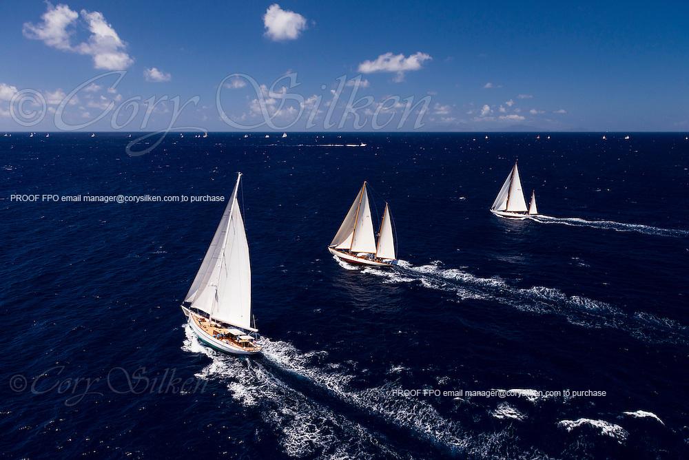 Carl Linne sailing in the Antigua Classic Yacht Regatta, Windward Race.