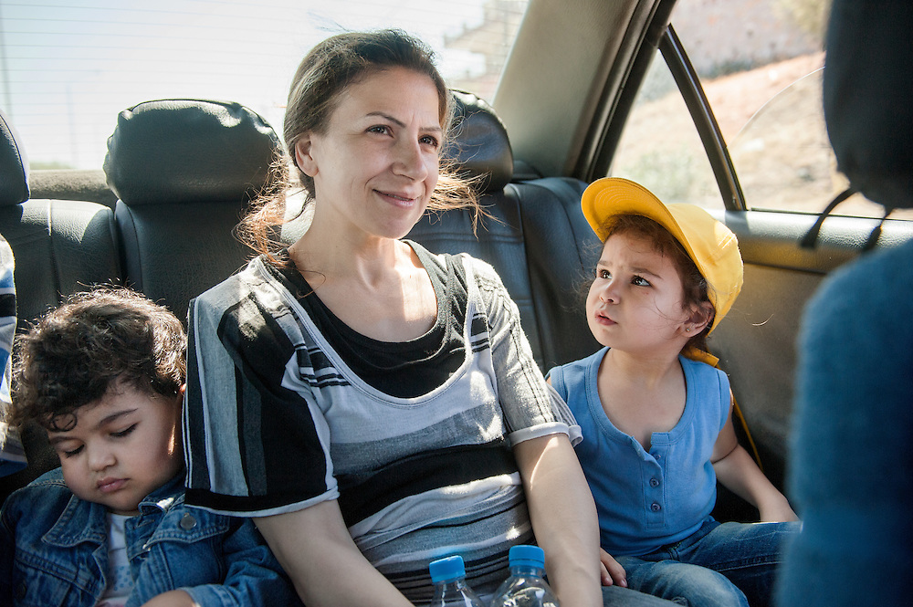Morning, Saturday 11th of September 2015. On the back seat of a taxi on the way to the Port of Mytilini where they will take the boat to Kavala, a town in Northern Greece.