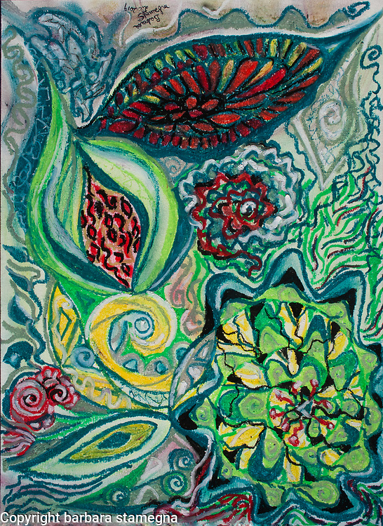 Abstract nature composition with red seeds shapes in natural pattern with flower, leaves and plant like figures with bended lines, curls, geometric and round shapes in tones of grey, green, yellow, white, black and red