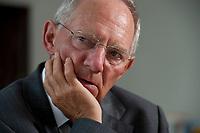 19 AUG 2010, BERLIN/GERMANY:<br /> Wolfgang Schaeuble, CDU, Bundesfinanzminister, waehrend einem Interview, in seinem Buero, Bundesministerium der Finanzen<br /> IMAGE: 20100819-01-054<br /> KEYWORDS: Wolfgang Schäuble