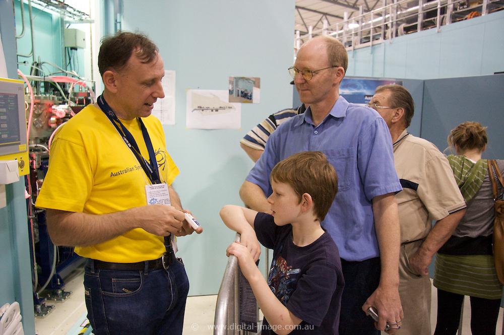 Australian Synchrotron Open Day 2008, Mr Paul Fielding a Phusics teacher at Billanook College in Mooroolbark with his 8yr old son Tim.