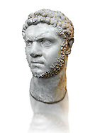 Roman sculpture bust of Marcus Aurelius Severus Antoninus Augustus better known as Caracalla, made between 210 and 213 AD and excavated from the via Cassia, Rome. The realism of this  sculpture of Caracalla captures cruelty of the most notorious and unpleasant of emperors because of the massacres and persecutions he authorized and instigated throughout the Roman Empire. The eldest son of Septimius Severus, he reigned jointly with his father from 198 until Severus' death in 211. For a short time he then ruled jointly with his younger brother Geta until he had him murdered later in 211. Caracalla's reign was also notable for the Constitutio Antoniniana  granting Roman citizenship to all freemen throughout the Roman Empire. While travelling from Edessa to continue the war with Parthia, he was assassinated while urinating at a roadside near Carrhae on 8 April 217, by Julius Martialis, an officer of his personal bodyguard who was possibly resentful at not being promoted to the rank of centurion.  The National Roman Museum, Rome, Italy .<br /> <br /> If you prefer to buy from our ALAMY PHOTO LIBRARY  Collection visit : https://www.alamy.com/portfolio/paul-williams-funkystock/roman-museum-rome-sculpture.html<br /> <br /> Visit our ROMAN ART & HISTORIC SITES PHOTO COLLECTIONS for more photos to download or buy as wall art prints https://funkystock.photoshelter.com/gallery-collection/The-Romans-Art-Artefacts-Antiquities-Historic-Sites-Pictures-Images/C0000r2uLJJo9_s0