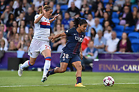 Shirley Cruz (captain) of  Paris Saint-Germain is challenged by Camille Abily of Olympique Lyon during the UEFA Women's Champions League Final between Lyon Women and Paris Saint Germain Women at the Cardiff City Stadium, Cardiff, Wales on 1 June 2017. Photo by Giuseppe Maffia.<br /> <br /> <br /> Giuseppe Maffia/UK Sports Pics Ltd/Alterphotos