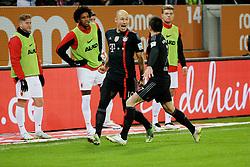13.12.2014, SGL Arena, Augsburg, GER, 1. FBL, FC Augsburg vs FC Bayern Muenchen, 15. Runde, im Bild Torschuetze Arjen Robben (# 10, Bayern Muenchen)3.v.l jubelt mit Franck Ribery (# 7, Bayern Muenchen) 4.v.l, waehrend im Hintergrund Marcel de Jong (# 17, FC Augsburg), Francisco da Silva Caaiuby (# 30, FC Augsburg) und Alexander Esswein (# 11, FC Augsburg) v.l. es nicht fassen koennen // during the German Bundesliga 15th round match between FC Augsburg and FC Bayern Munich at the SGL Arena in Augsburg, Germany on 2014/12/13. EXPA Pictures © 2014, PhotoCredit: EXPA/ Eibner-Pressefoto/ Fastl<br /> <br /> *****ATTENTION - OUT of GER*****