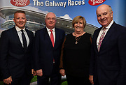 25/09/2018 Repro free: James Heaslip,who MC'd on the night and Peter Allen Chairman Galway Race Course and his wife and Anthony Ryan at the launch of Galway Racecourse  details of their new and exciting three-day October Festival that takes place over the Bank Holiday weekend, Saturday 27th, Sunday 28th and Monday 29th continuing racing and glamour into the Autumn.<br />   Each of the three race days offers something for all the family to enjoy, with a special theme attached to each day, together with fantastic horse racing, live music, delicious hospitality, entertainment and of course the meeting of old friends and new at Ballybrit.  <br /> Halloween Family Fun <br /> On Saturday 27th October come along with your children and grand children and enjoy the 'Spooktacular' Halloween themed family fun day with lots of entertainment including a fancy-dress competition, Halloween games and face painting to mention but a few!! All weekend children under 16 years of age have free admission. <br /> Race in Pink <br /> As part of this new October Festival and with-it being Breast Cancer Awareness month, Galway Racecourse have partnered with The National Breast Cancer Research Institute to host a dedicated fundraiser on Sunday 28th October called 'Race in Pink'.  <br /> <br /> Student Race Day in aid of the Voluntary Services Abroad <br /> Monday sees the return of our annual 'Student Race Day' in conjunction with the Voluntary Services Abroad (a medical aid charity run by the fourth-year medical students of NUI, Galway), and the NUIG Rugby Club.  Each year, this fundraising day for the student organisations raises a tremendous amount of money for their chosen projects including the VSA annual summer volunteer trip to Africa where they use the funds raised to help projects at the hospitals they visit. <br />  National hunt racing on Saturday kicks off at 2.05pm with racing Sunday and Monday off at 1.05pm. Adult admission on all three days is €15 with children under 16 years o