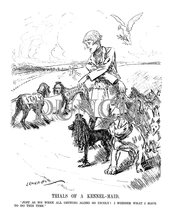 "TRIALS OF A KENNEL - MAID. ""Just as we were getting along so nicely! I wonder what I have to do this time."" (an InterWar cartoon shows Geneva taking her European dogs for a walk as Italy breaks off from the peaceful dogs including France and Britain to attack Abyssinia while Japan and Germany have escaped their collars)"