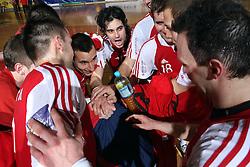 Peter Hrvatin and other players of Slovan celebrate after 15th round of Slovenian Handball MIK 1st league match between RD Slovan and RK Celje Pivovarna Lasko, on February 6, 2009, in Kodeljevo, Ljubljana, Slovenia. Win of RK Slovan 18:17. (Photo by Vid Ponikvar / Sportida)