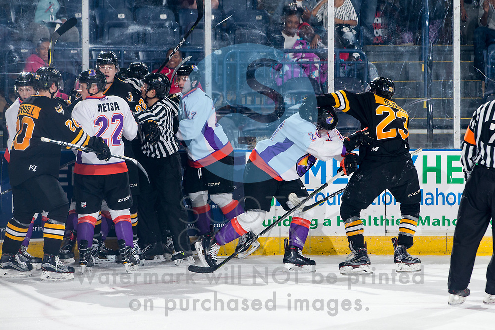 The Youngstown Phantoms lose 2-1 to the Green Bay Gamblers on October 20, 2017.<br /> <br /> Zach Metsa, defenseman, 22; Matthew Thomson, left wing, 27; Curtis Hall, center, 20