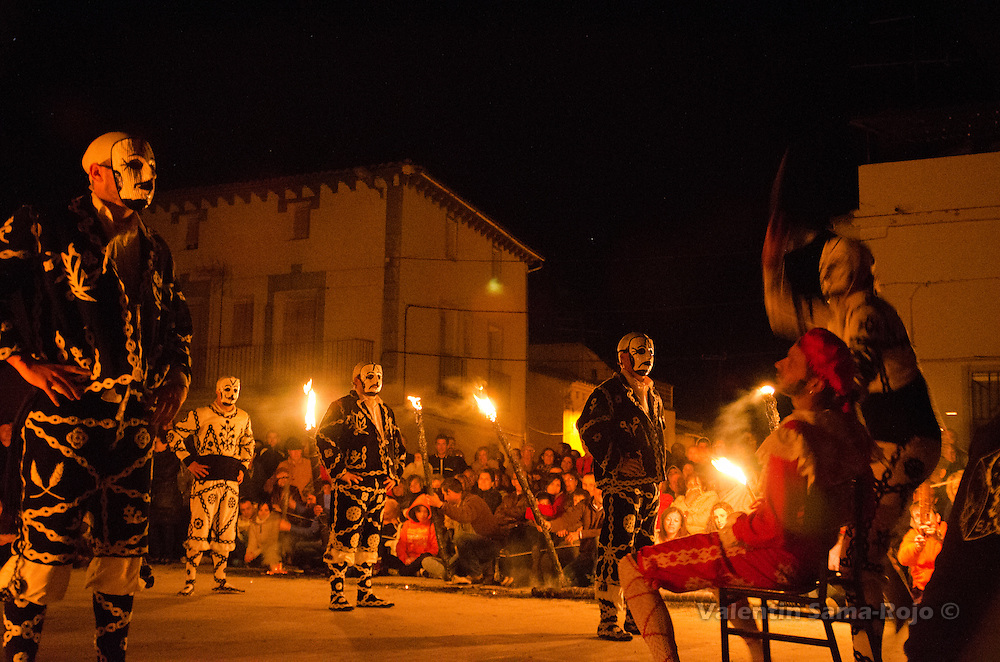 A 'contradancero' shaving and killing the devil character during the performance of Cetina's Contradanza honoring St. Juan Lorenzo.