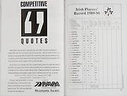 Irish Rugby Football Union, Ireland v Scotland, Five Nations, Landsdowne Road, Dublin, Ireland, Saturday 3rd February, 1990,.03.02.1990, 02.03.1990,..Referee- C Norling, Wales,..Score- Ireland 10 - 13 Scotland,. .Irish Team, ..K Murphy,  Wearing number 15 Irish jersey, Full Back, Cork Constitution Rugby Football Club, Cork, Ireland,..M J Kiernan, Wearing number 14 Irish jersey, Right Wing, Dolphin Rugby Football Club, Cork, Ireland, ..B J Mullin, Wearing number 13 Irish jersey, Right Centre, Blackrock College, Rugby Football Club, Dublin, Ireland, ..D G Irwin, Wearing number 12 Irish jersey, Left Centre,  Instonians Rugby Football Club, Belfast, Northern Ireland,..K D Crossan, Wearing number 11 Irish jersey, Left Wing, Instonians Rugby Football Club, Belfast, Northern Ireland,..B A Smith, Wearing number 10 Irish jersey, Out Half, Oxford University Rugby Football Club, Oxford, England, ..L F P Aherne, Wearing number 9 Irish jersey, Scrum Half, Landsdowne Rugby Football Club, Dublin, Ireland,..N P Mannion, Wearing number 8 Irish jersey, Forward, Corinthians Rugby Football Club, Galway, Ireland,..P J OHara, Wearing number 7 Irish jersey, Forward, Sunday Wells Rugby Football Club, Cork, Ireland, ..P M Matthews, Wearing number 6 Irish jersey, Forward, Wanderers Rugby Football Club, Dublin, Ireland,..W A Anderson, Wearing number 5 Irish jersey, Captain of the Irish team, Forward, Dungannon Rugby Football Club, Tyrone, Northern Ireland, ..D G Lenihan, Wearing number 4 Irish jersey, Forward, Cork Constitution Rugby Football Club, Cork, Ireland,..D C Fitzgerald, Wearing number 3 Irish jersey, Forward, Landsdowne Rugby Football Club, Dublin, Ireland,..J P McDonald, Wearing number 2 Irish jersey, Forward, Malone Rugby Football Club, Belfast, Northern Ireland, ..J J Fitzgerald, Wearing number 1 Irish jersey, Forward, Young Munster Rugby Football Club, Limerick, Ireland,..Scottish Team, ..A G Hastings, Wearing number 15 Scottish jersey, Full Back, London Scottish Rugby Football